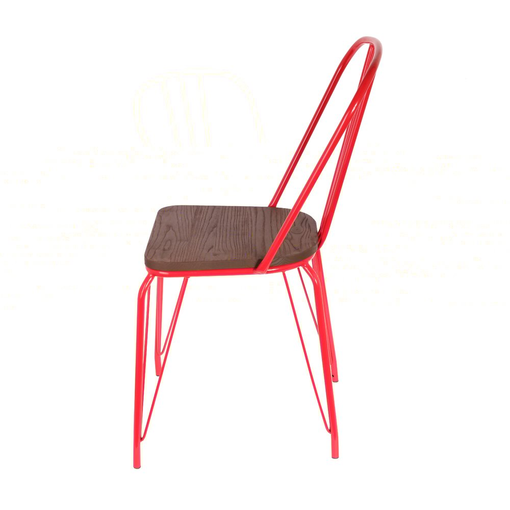 Chaise en métal rouge et assise bois (photo)