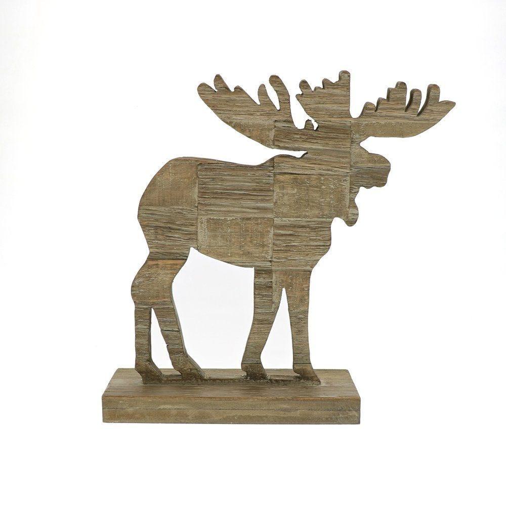 Renne en bois sur socle L 32,5 x P 10 x H 33 cm