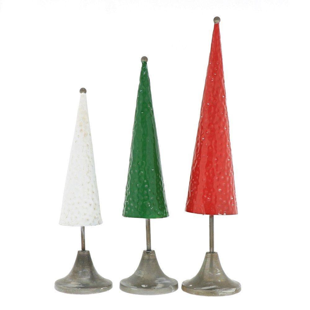 Sapins coniques assortis Ø 10 x H 46,5+ 40 + 34,5 cm - par 3