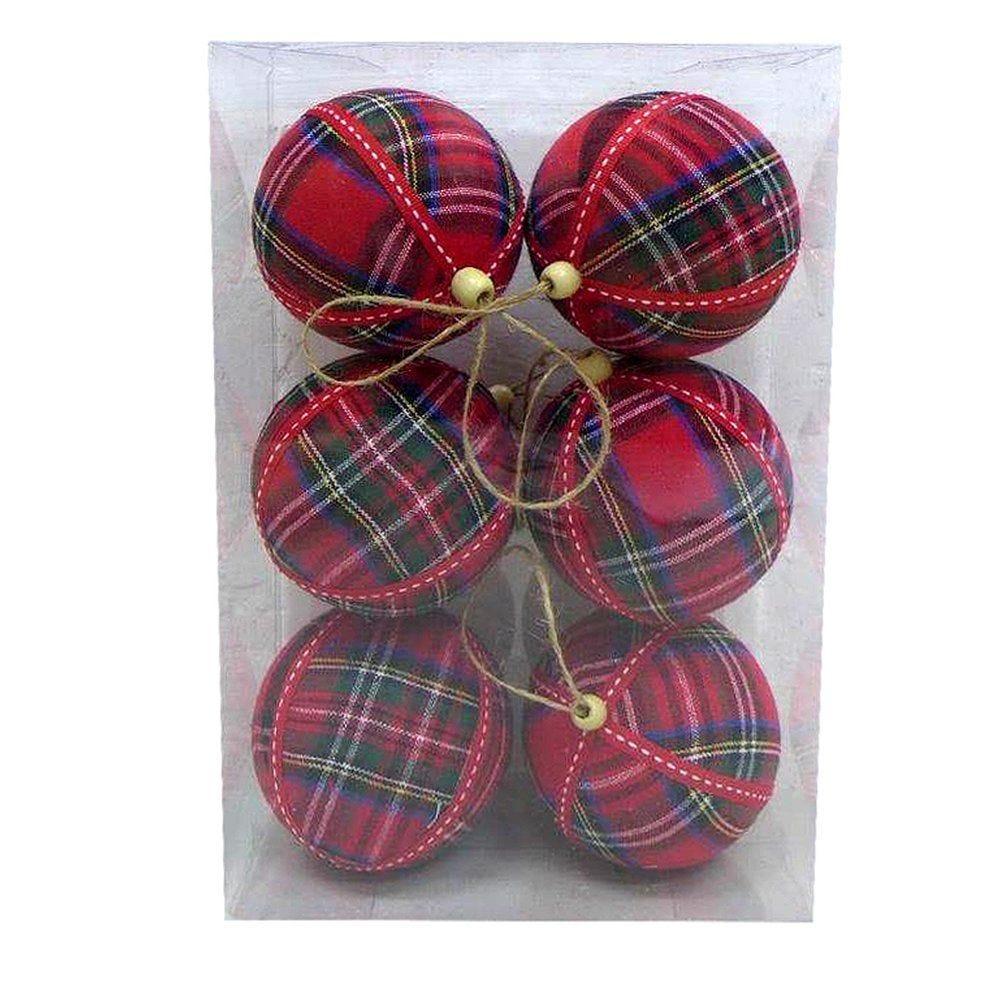 Boules tartan rouge Ø 10 cm - boite de 6