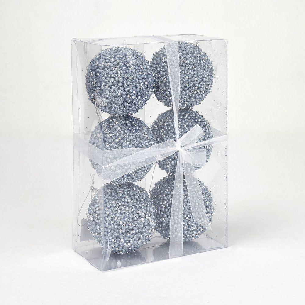 Boules perlées mauve et argent ø 10 cm- boite de 6