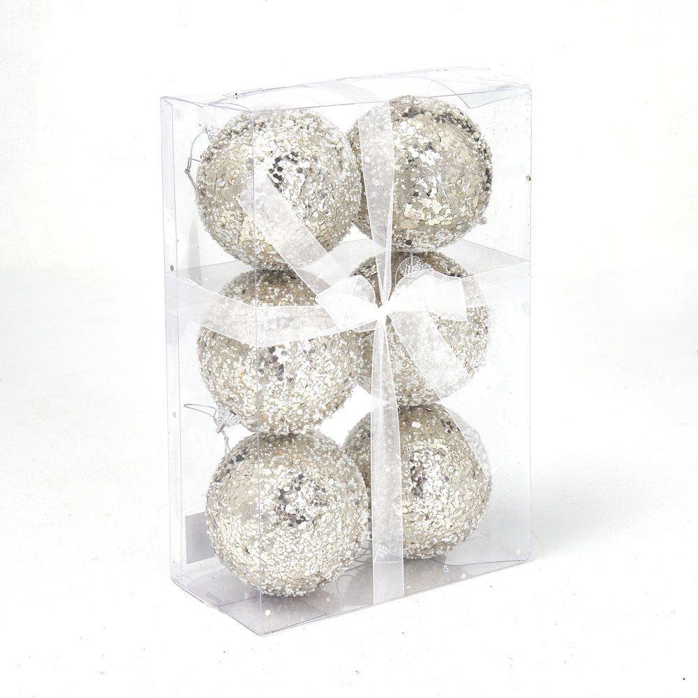 Boules champagne points blancs ø 10cm - boite de 6 (photo)