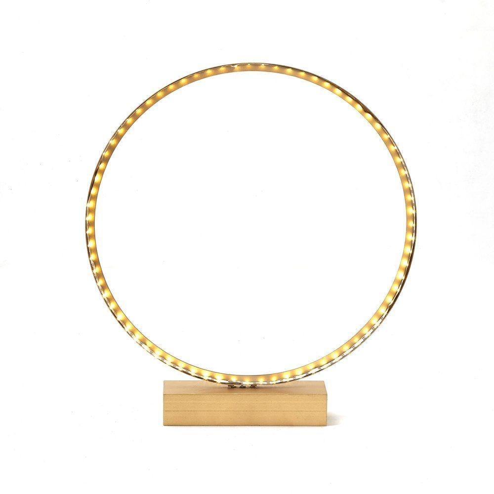 Cercle or lumineux sur socle L 40 x P 6 x H 44 cm