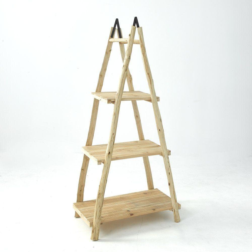 Etagere échelle en bois naturel 3 étagères L 103 x P 45 x H 166 cm