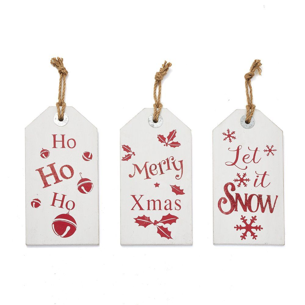 Suspensions bois blanc décor Noel rouge L 21,5 x H 42 cm - par 3