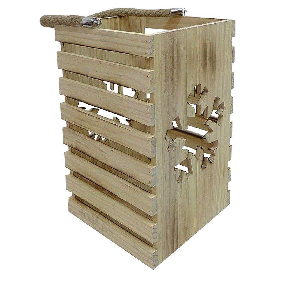 Photophore en bois découpe flocon L 18,7 x P 18,7 x H 30 cm