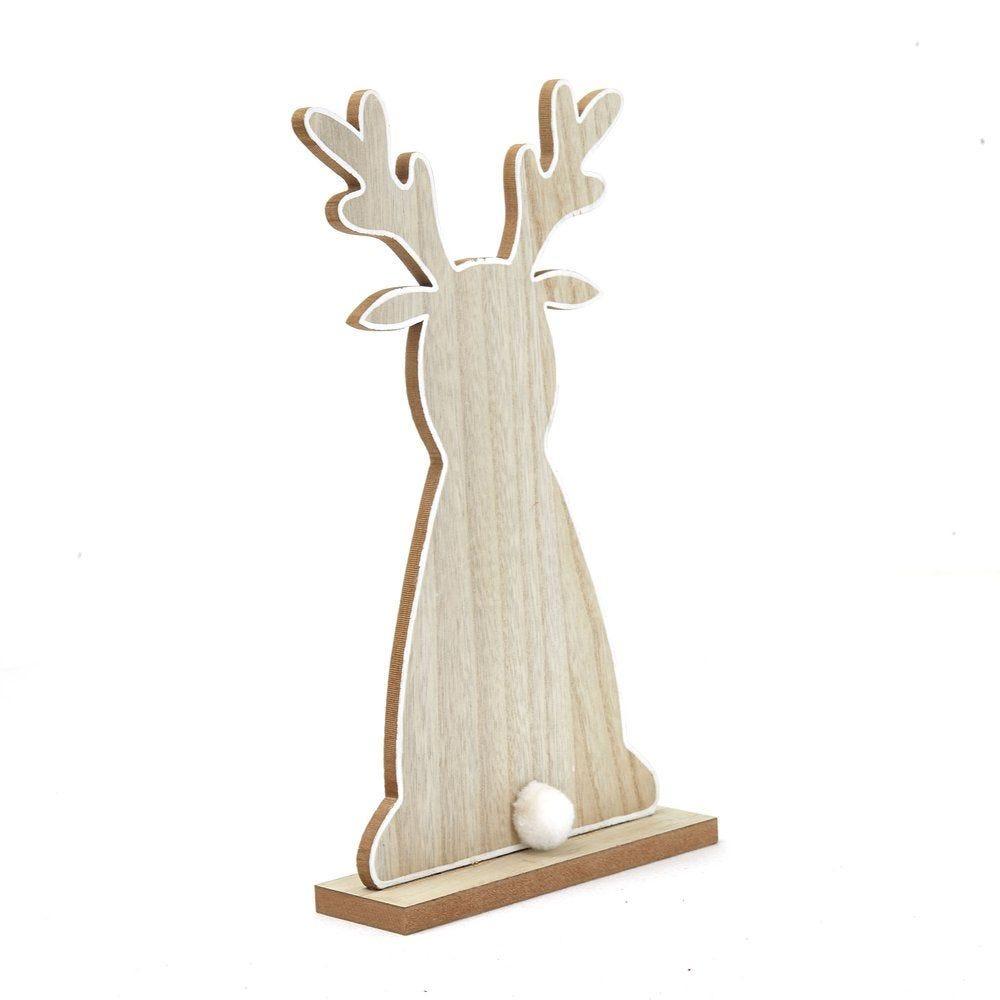 Renne en bois sur socle L 20 x P 6 x H 36,5 cm