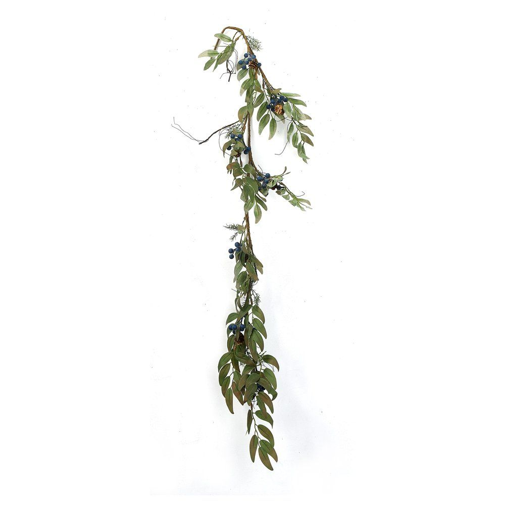 Guirlande de feuilles vertes et baies bleues L 120 cm
