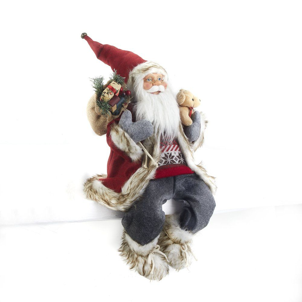 Père Noël assis avec ourson H 60 cm