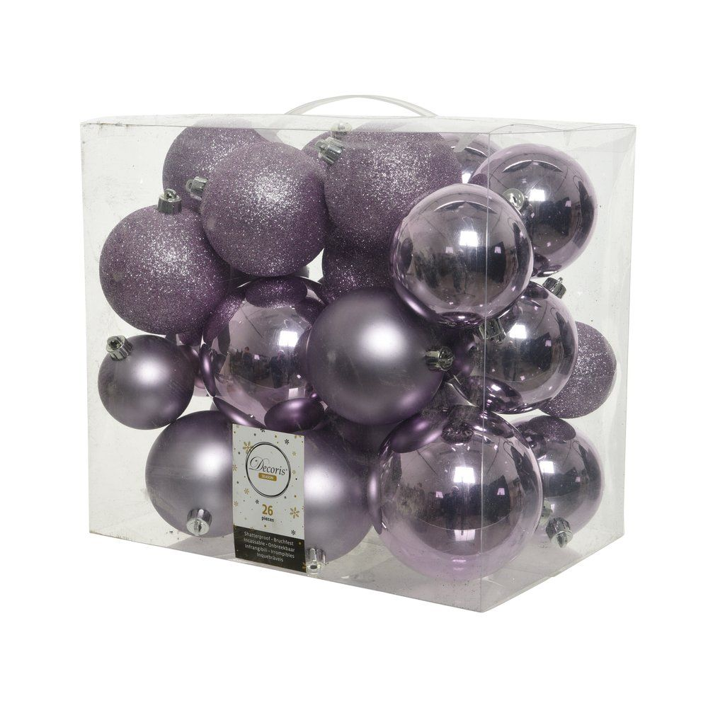 Boules lilas givrées - Ø 6 / 8 / 10 cm - finitions assorties - boîte de 26 (photo)