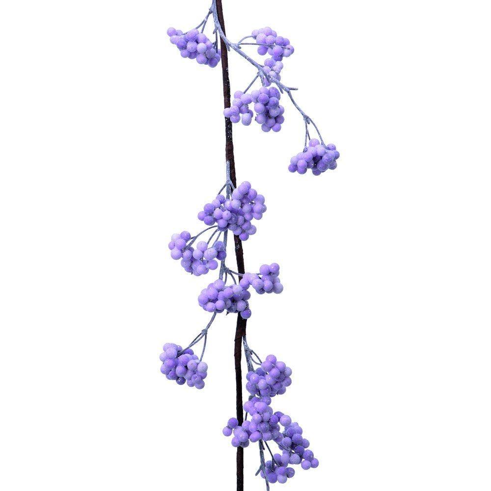 Guirlande de baies lilas givrées L 120 cm