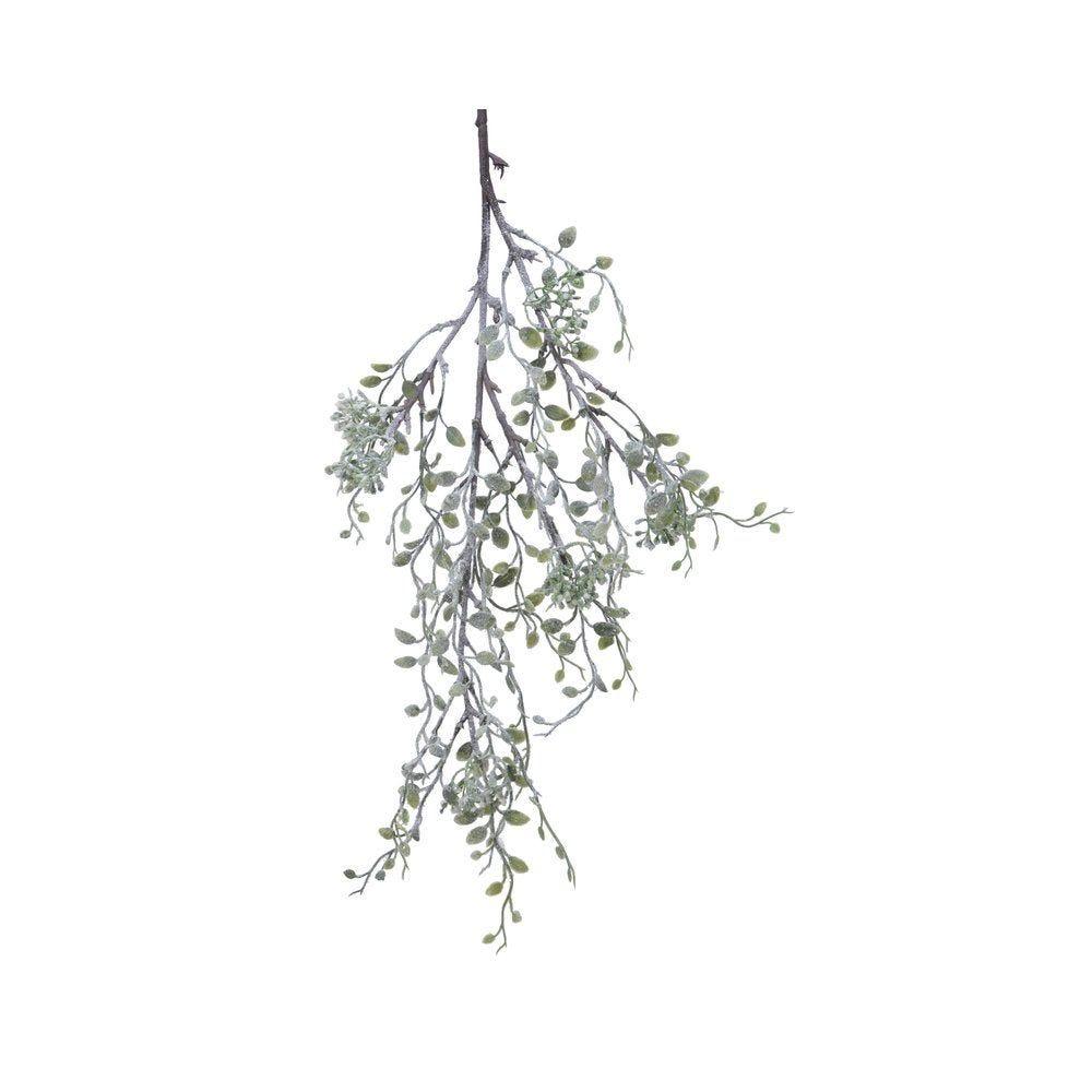 Branche de feuilles enneigées L 90 cm