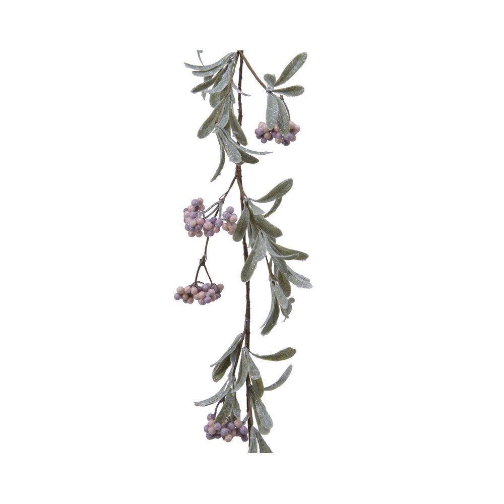 Guirlande de baies roses givrées L 110 cm