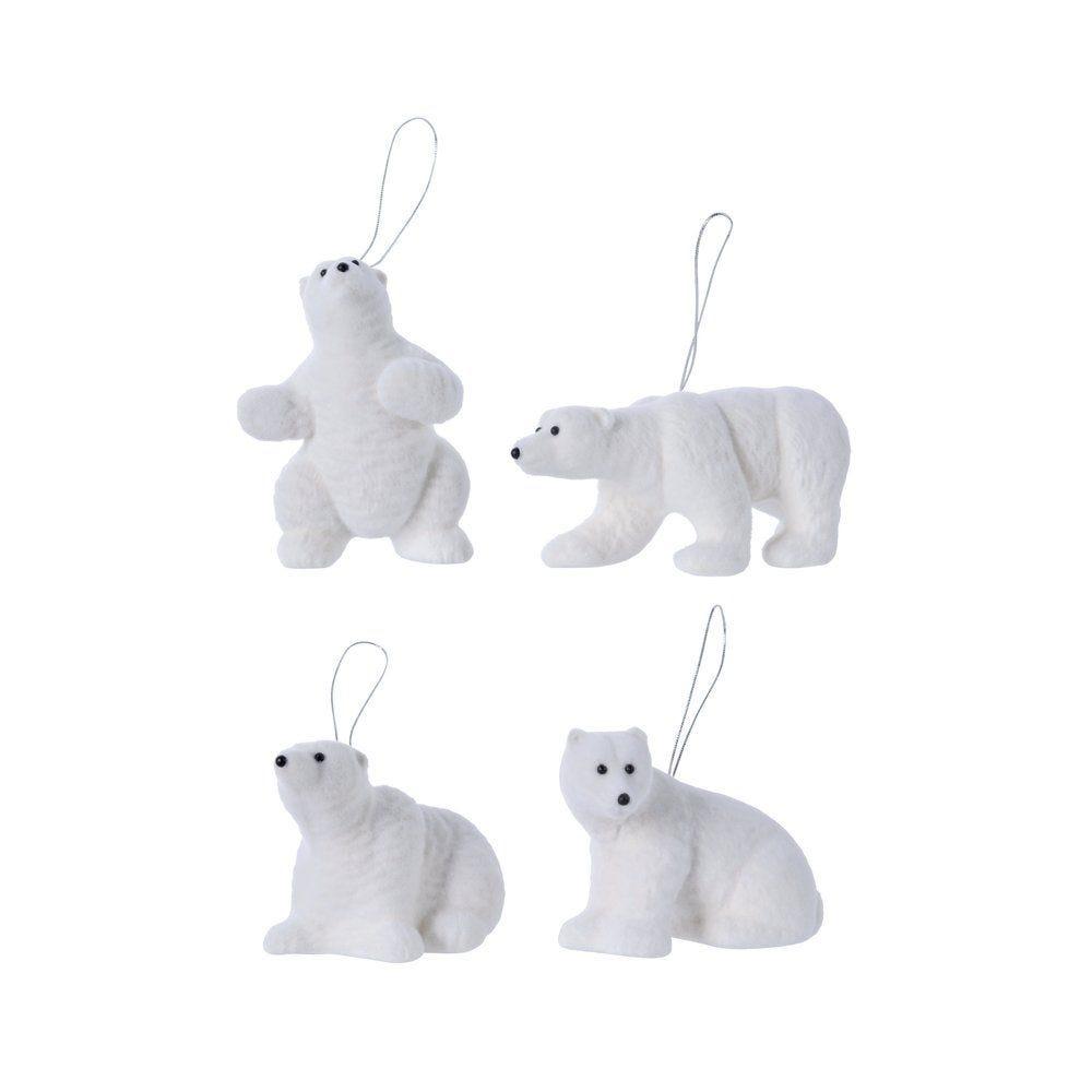 Suspension ours blanc floqué ± 10 cm - 4 modèles possibles