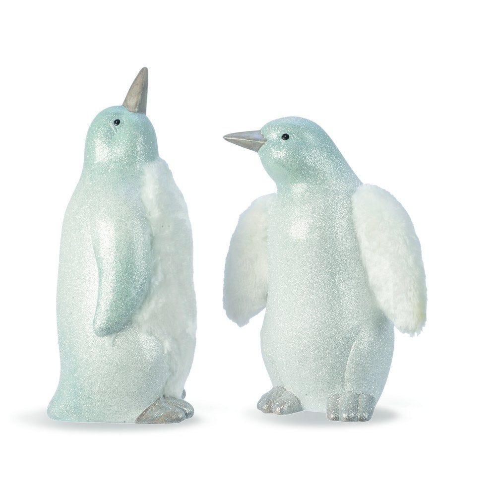 Pingouin blanc et argent avec fourrure H 30 et 35 cm - 2 modèles possibles