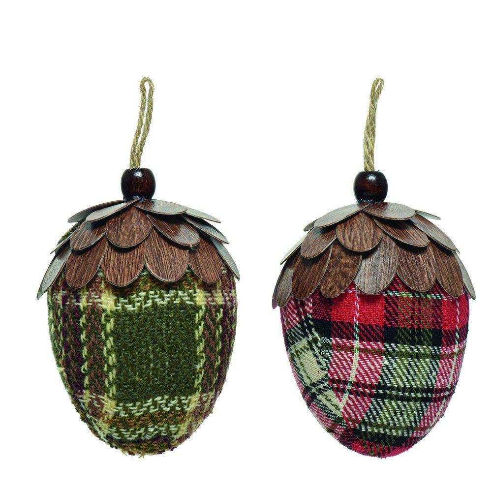 Pomme de pin tartan 6,5x10,5cm - 2 coloris possibles