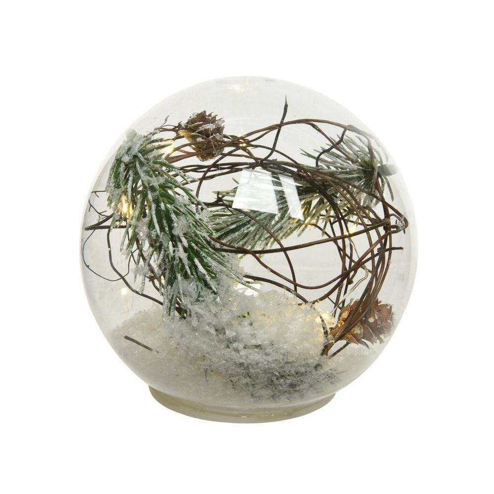 Boule en verre décor pin et 15 microLED blanc chaud Ø 18cm (photo)