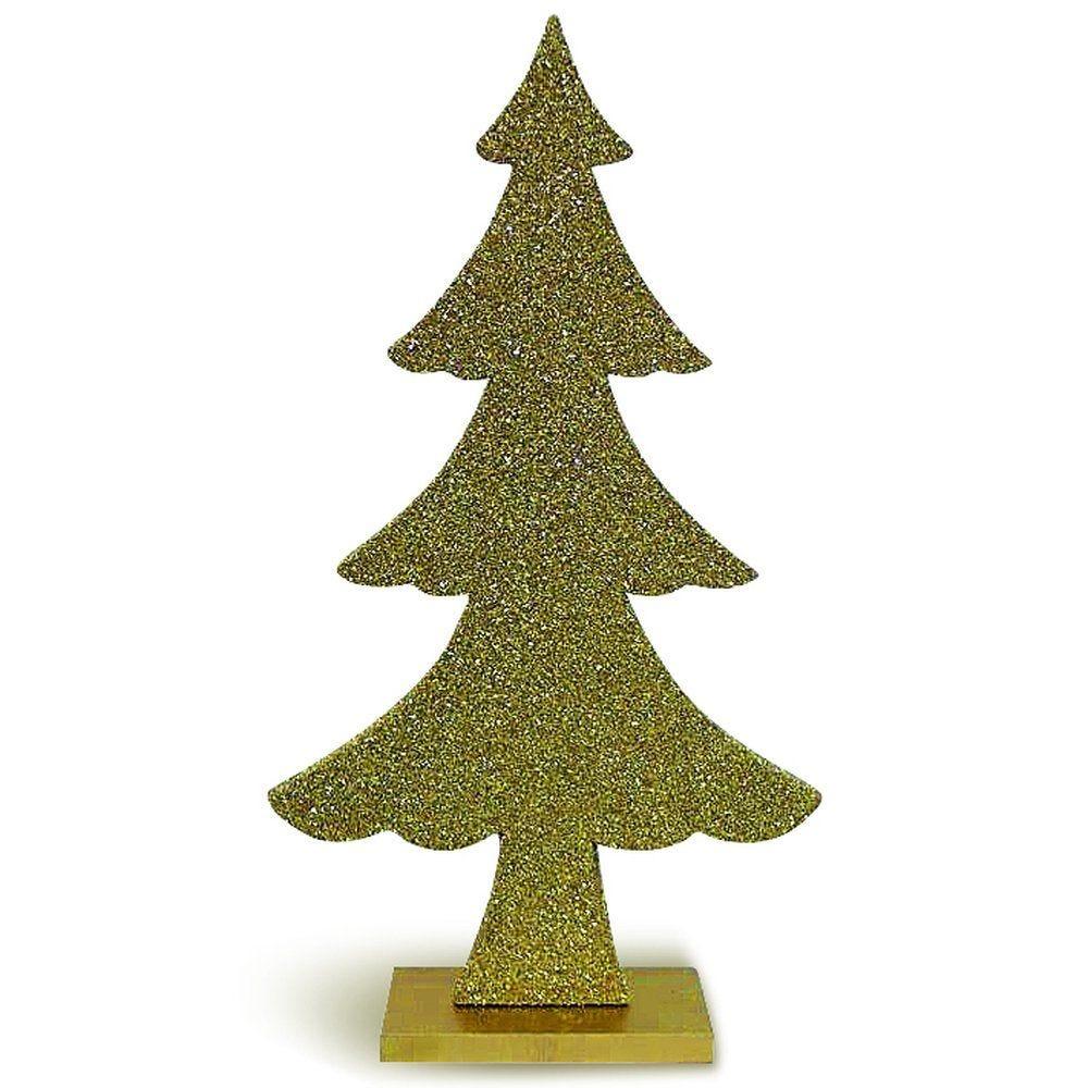 Sapin glitter or sur socle L 20,5 x H 36 cm