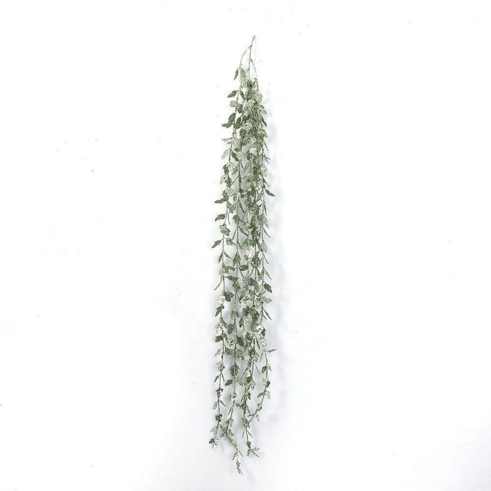 Branche de feuilles vertes glitter L 130 cm