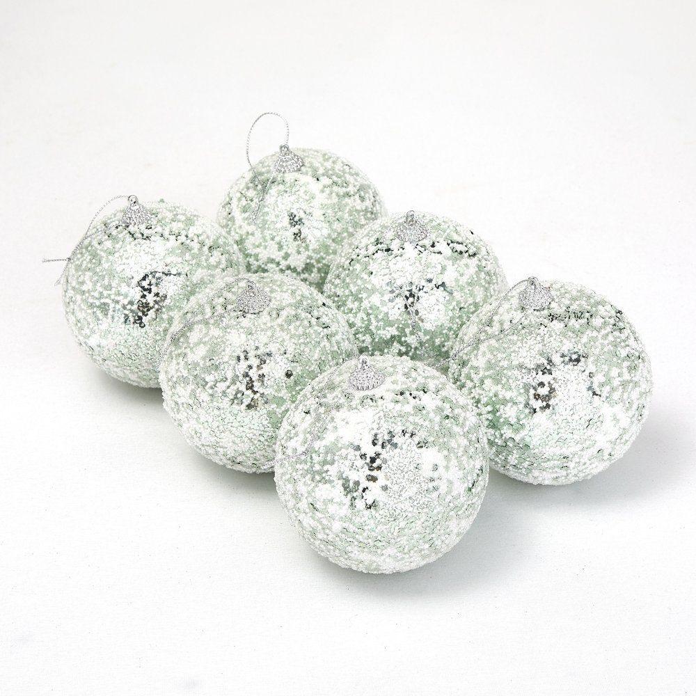Boules vert clair givrées ø 10 cm - boite de 6