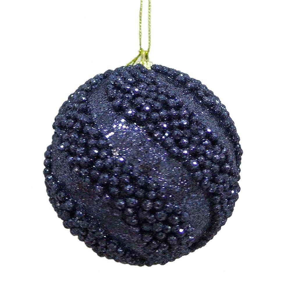 Boules perlées bleu nuit ø 10 cm - boite de 6