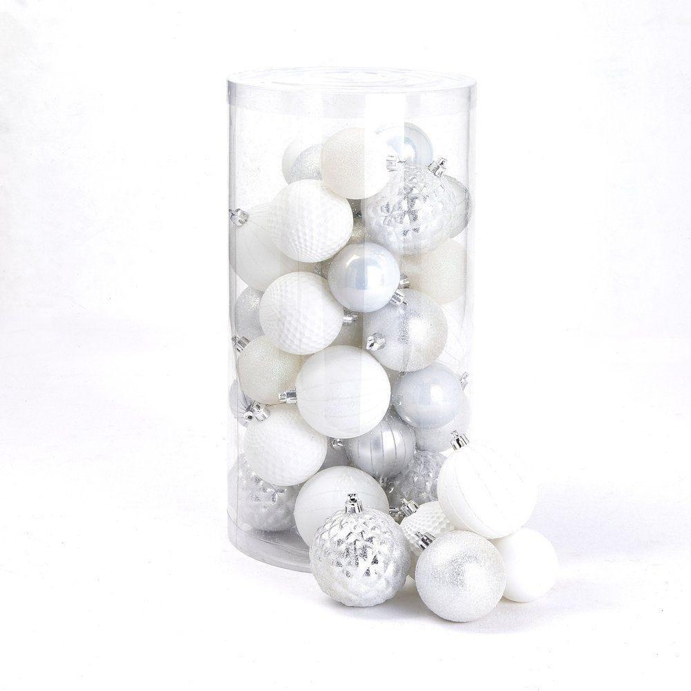 Boules argent & blanc assortis ø 6 / 7 / 8 cm - boite de 44