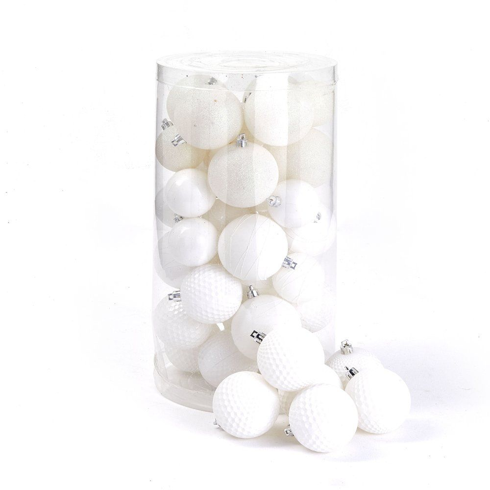 Boules en plastique blanc finitions assorties Ø 6 à 8 cm  - boite de 44 (photo)