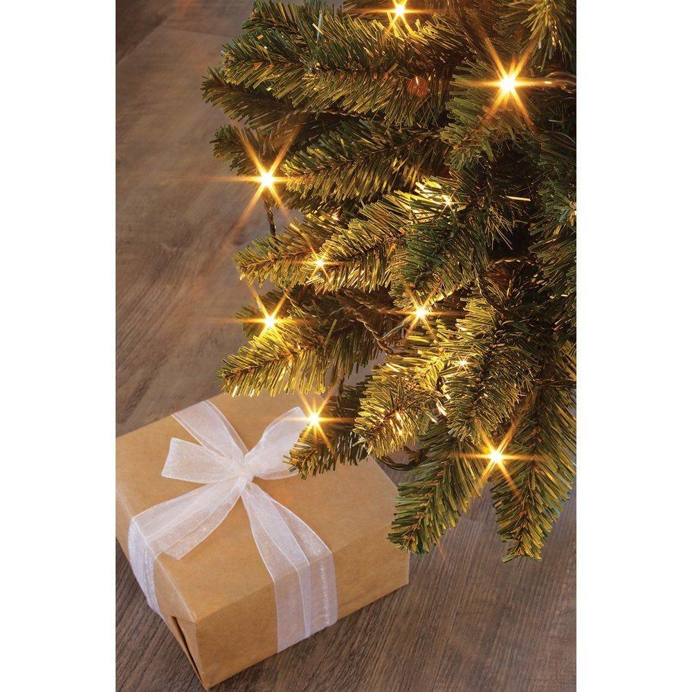 Guirlande 104 LEDS blanc chaud + 24 LEDS flash blanc pur - 8 M - câble vert