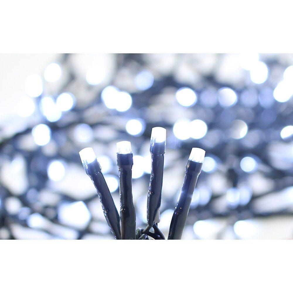 Guirlande 192 Leds super brillante blanc pur 16m - câble vert