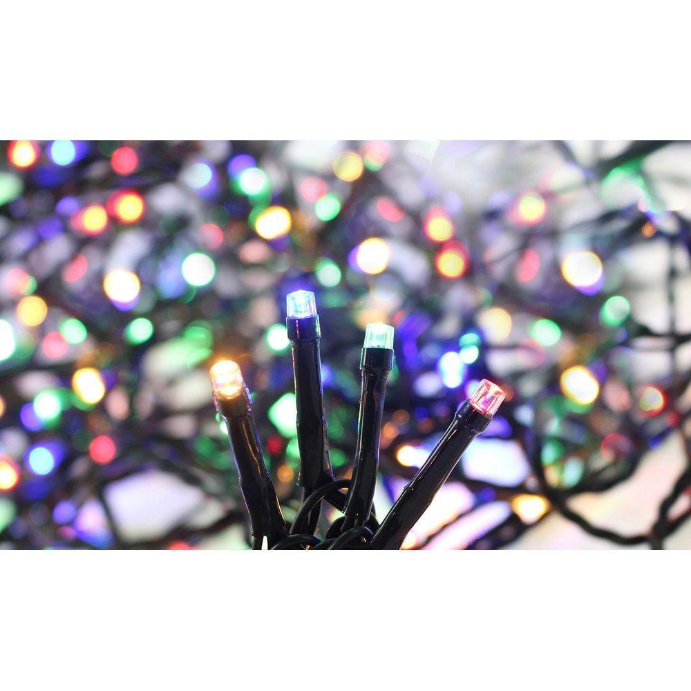 Guirlande 192 LED super brillante multicolore 16m - câble vert
