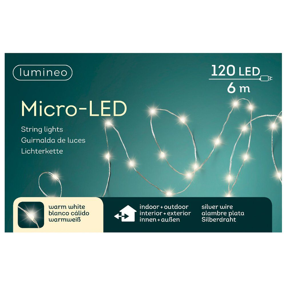 Guirlande 120 microLEDS blanc chaud cable argent 6 m
