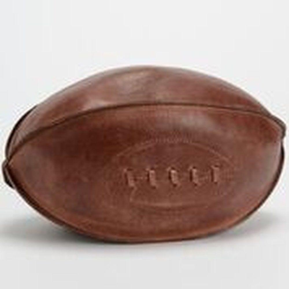 Ballon de rugby déco cuir 29x19x19cm (photo)