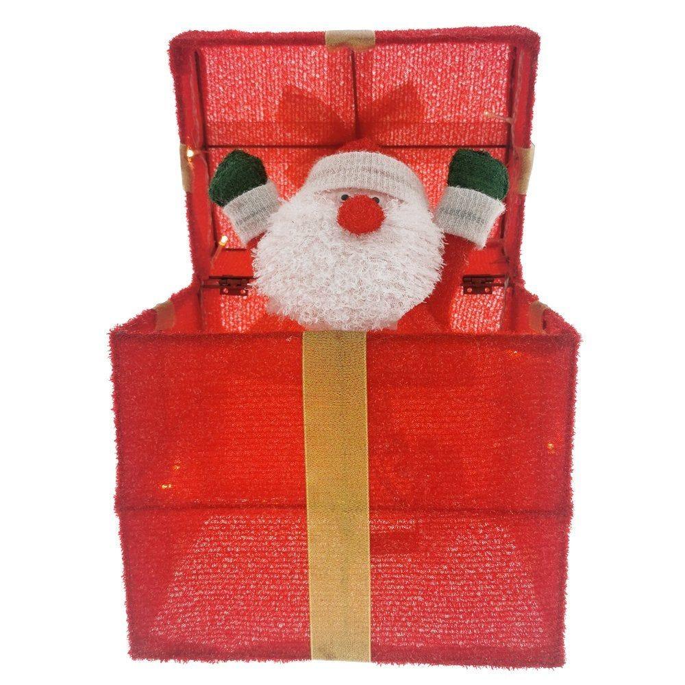 Boîte cadeau animée avec Père Noël 28x20x30cm