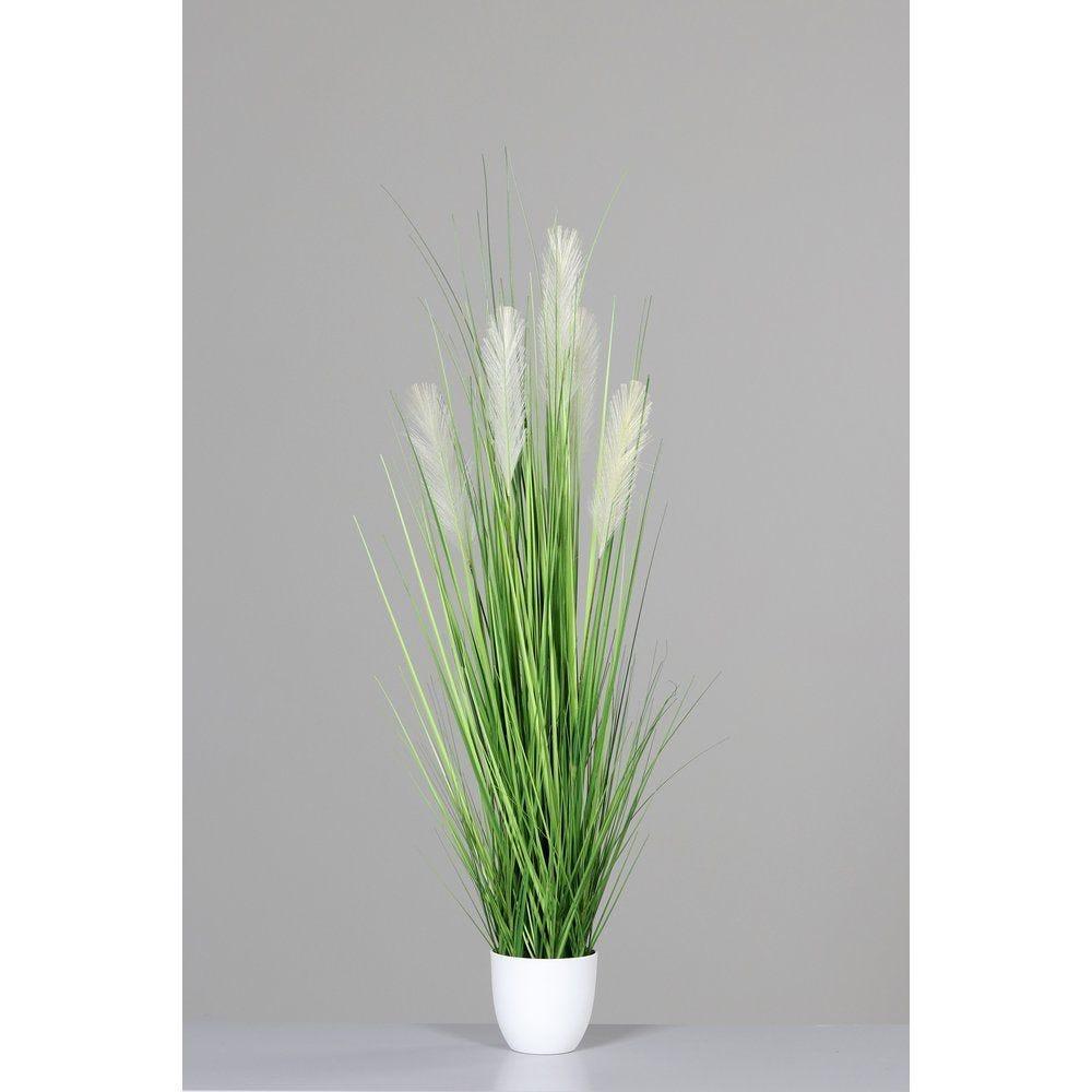 Herbe verte artificielle dans pot blanc H 110 cm
