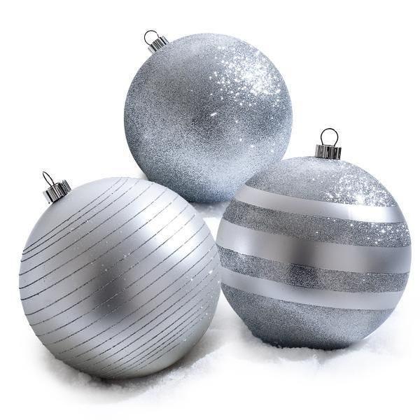 Boîtes 3 boules argent 3 finitions PVC D.20cm - par 3 (photo)