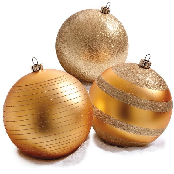 Boîte 3 boules or 3 finitions PVC D.20cm - par 3 (photo)