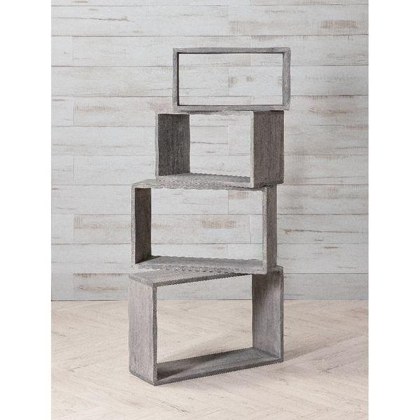 Set 4 rectangles bois gris L 45+50+55+60 cm (photo)
