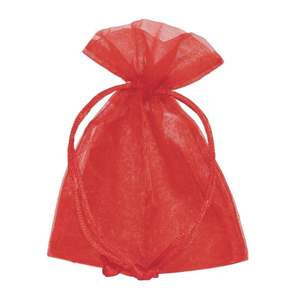 Sac organza rouge L 9 x H 12 cm - par 10