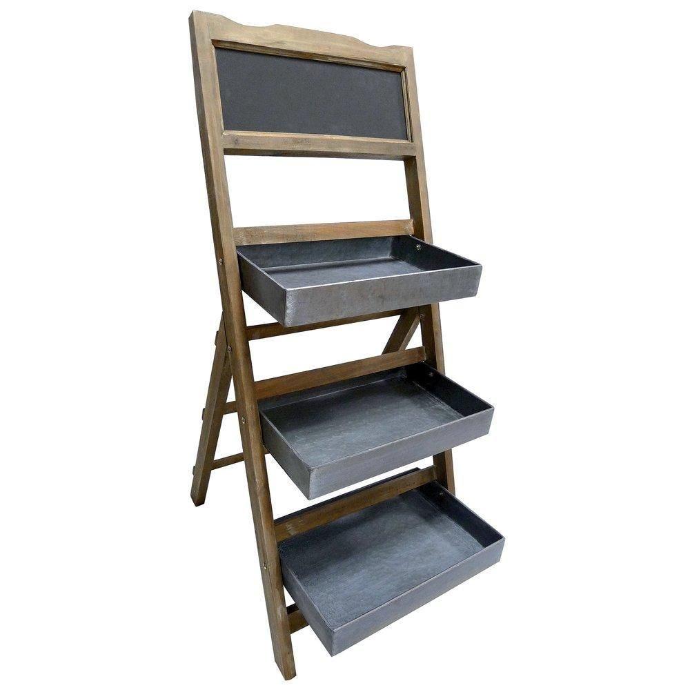 Présentoir bois avec ardoise - 46 x 50 x 109 cm (photo)