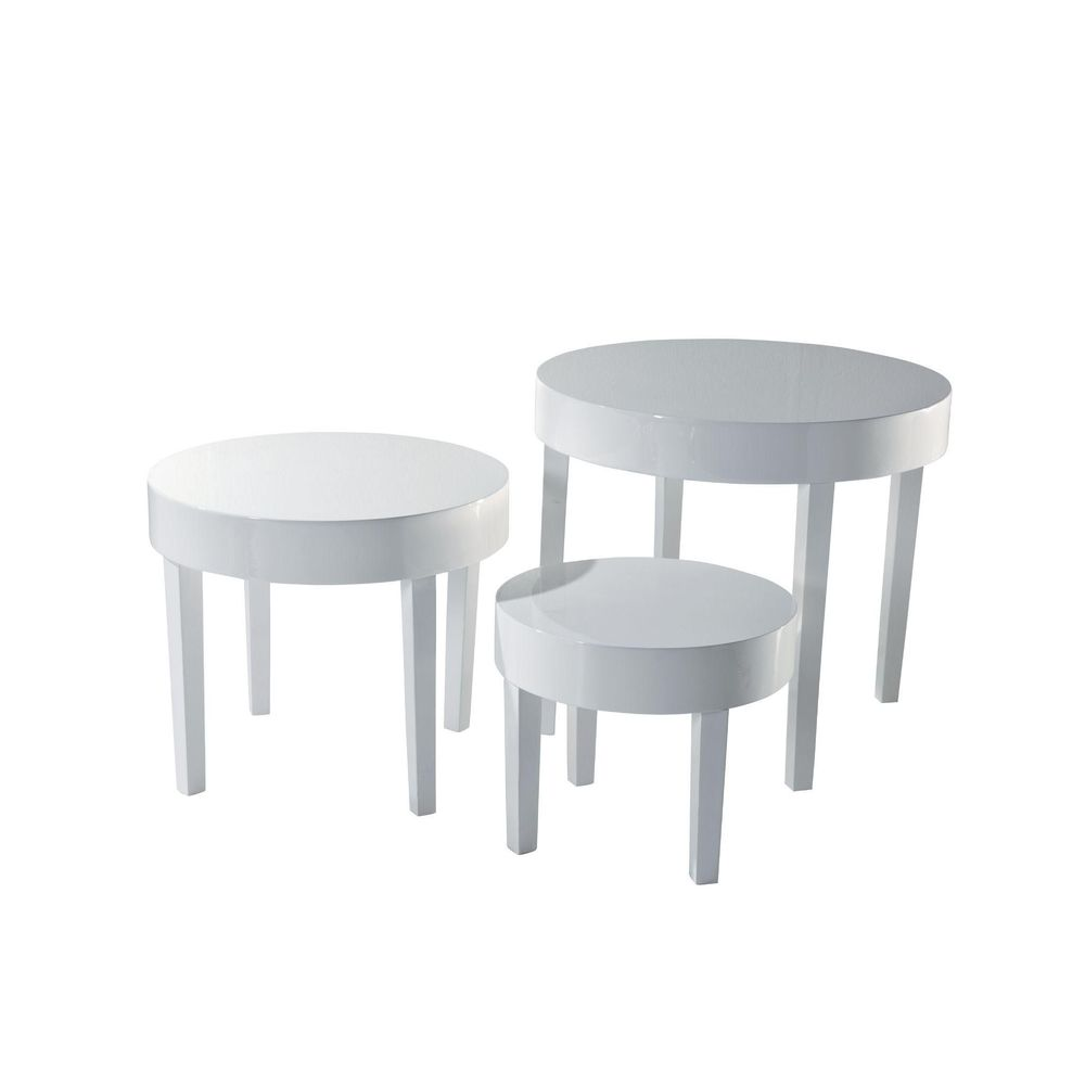 Tables rondes blanches - 57x50 + 47X40 + 37x30 cm - Lot de 3 (photo)