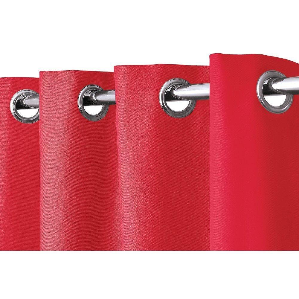 Rideau cabine d'essayage rouge à oeillets L.1,35 x H.2m (photo)