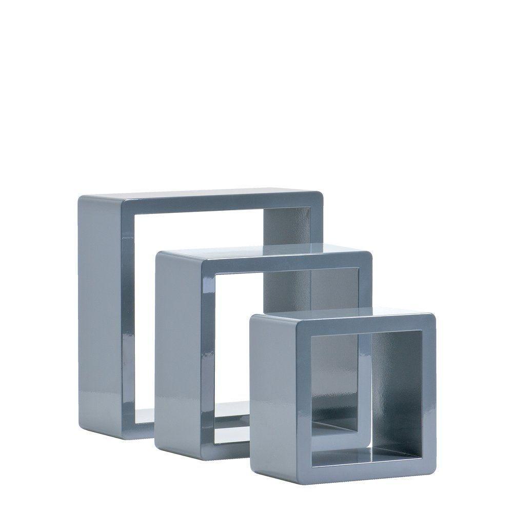 Set cubes gris laqué 17x17+22x22+27x27cm - par 3 (photo)