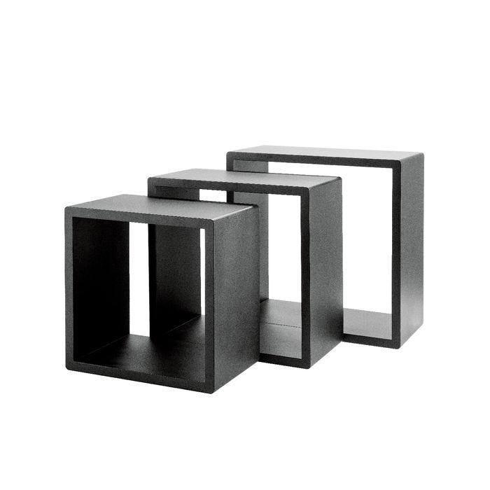 Set cubes noir mat 31x20+35x20+39x20cm par 3 (photo)