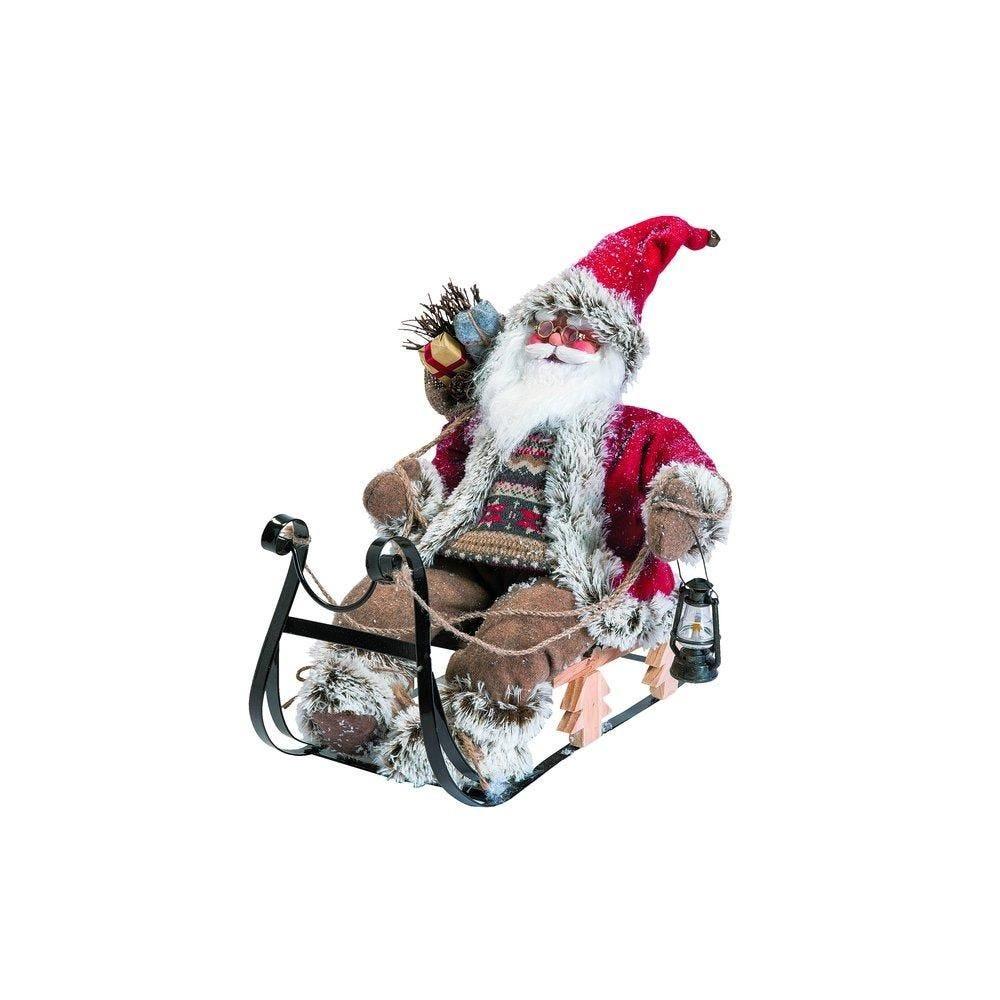 Père Noël rouge sur traineau L40 x P25 x H33cm