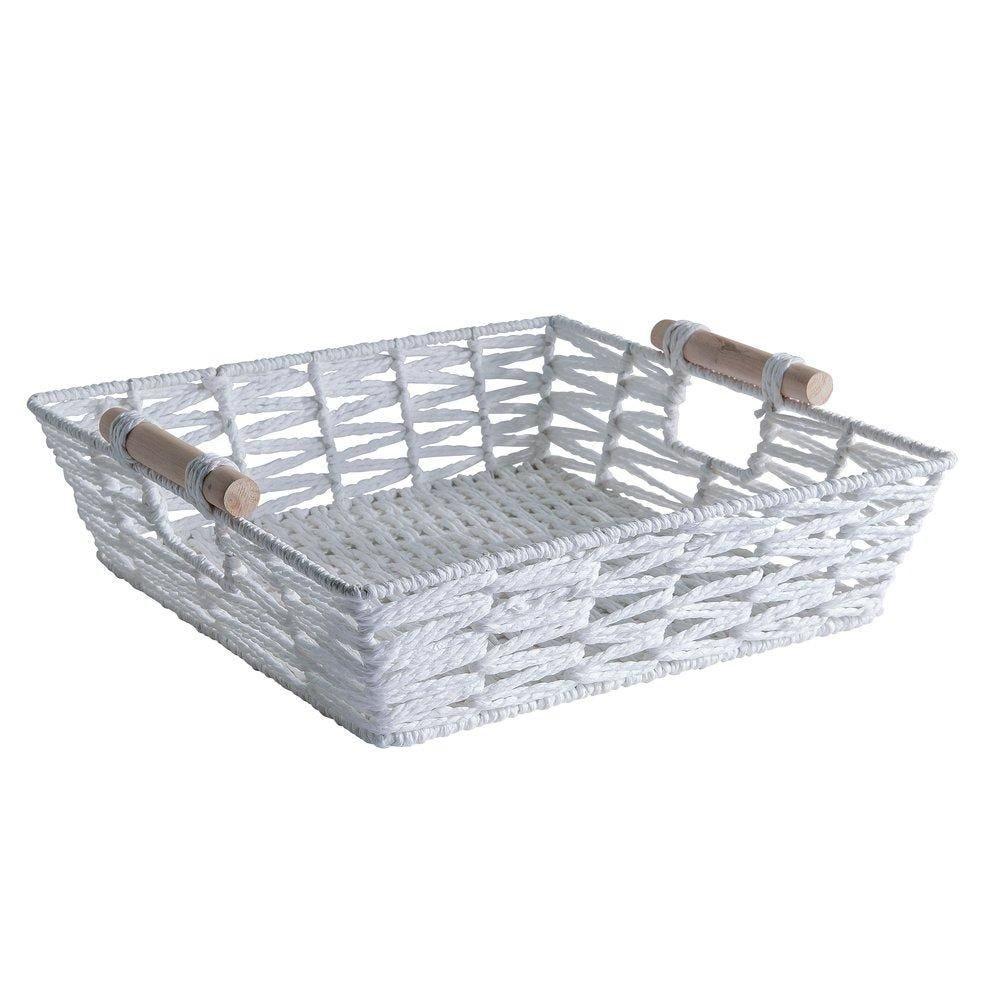 Panier rectangle blanc avec anses en bois L.33 x P.26 X H 9cm