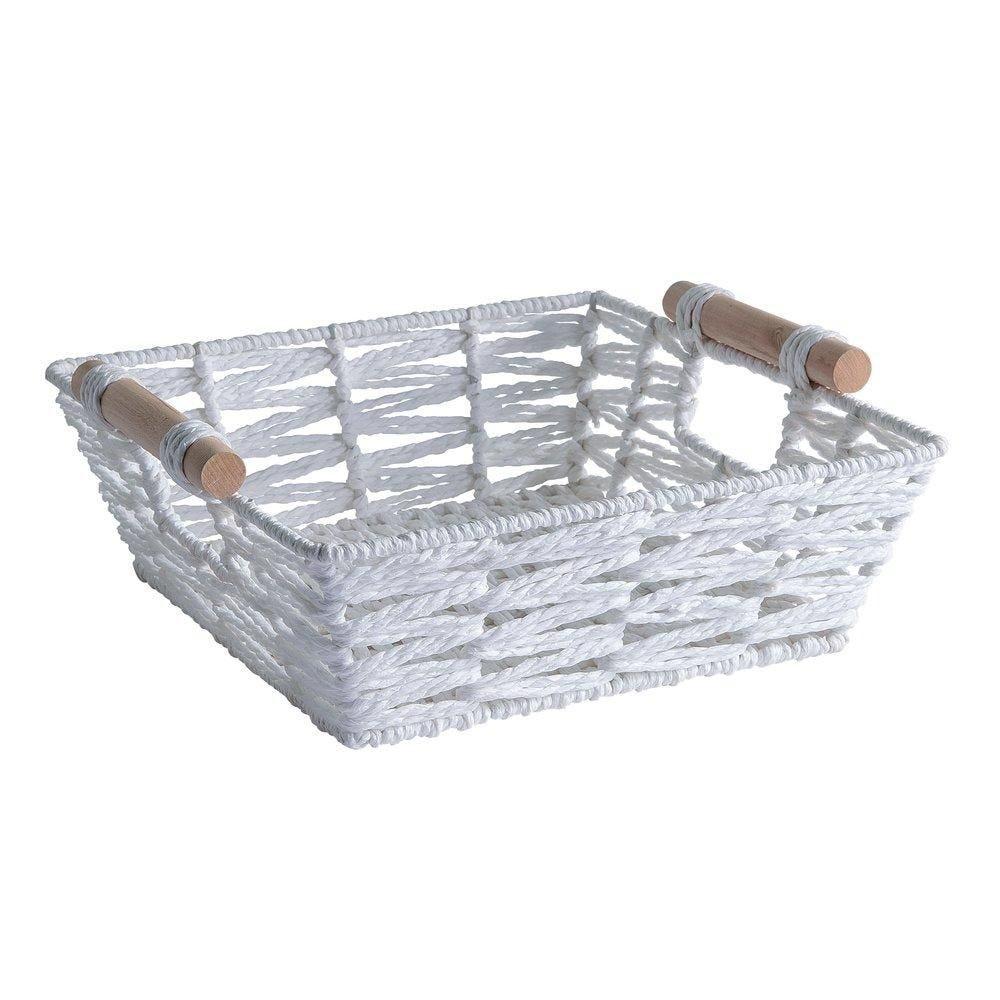 Panier carré blanc avec anses en bois L.26 x H.9 x P.26cm (photo)
