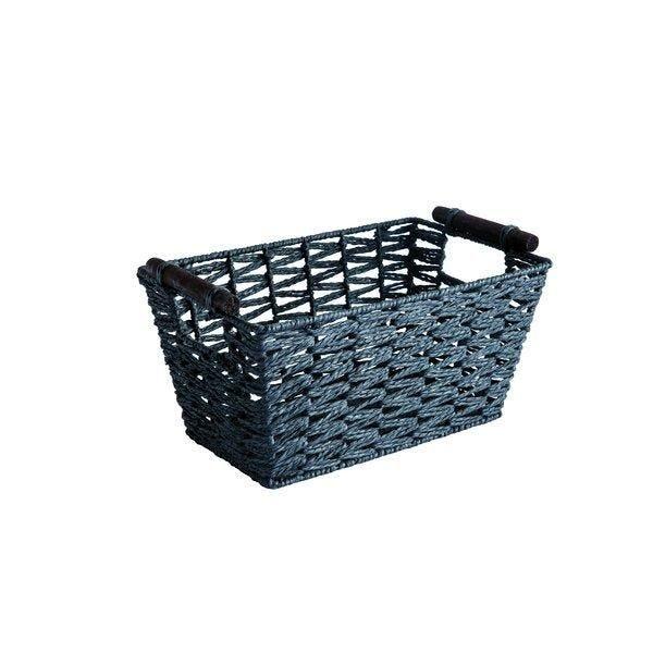 Panier rectangle noir à anses bois L29 x P14 x H18 cm