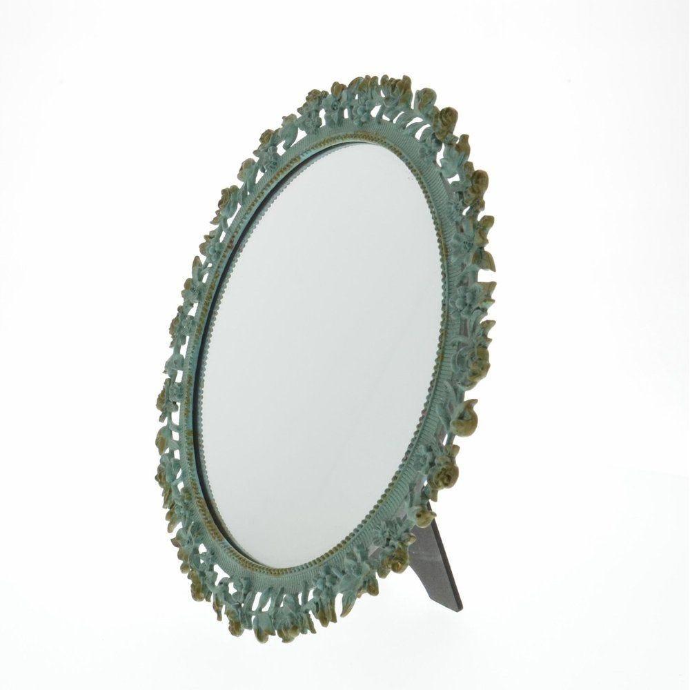 Miroir rond vert diamètre 24cm (photo)