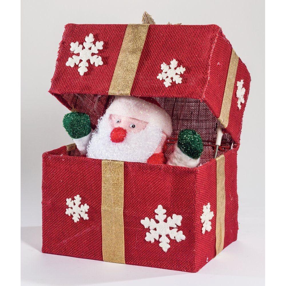 Père noël automate dans paquet cadeau rouge 18 leds 28.5x20x36.5cm (photo)