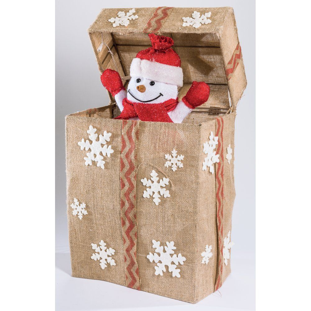Bonhomme de neige automate dans paquet cadeau beige 36 leds 44.5x23x52.5cm (photo)